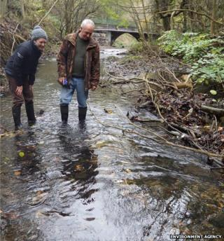"Claire Pattison and Lloyd Atkinson inspecting the trout spawning areas, or ""redds"""