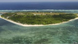An aerial view shows the Pagasa (Hope) Island, part of the disputed Spratly Islands, 20 July 2011.