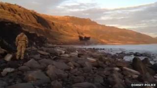Explosion on Church Cliff beach in Lyme