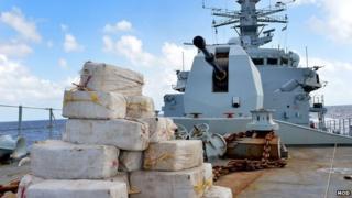 Drugs on deck of HMS Argyll. Pic: MoD