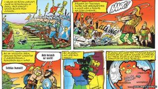 The opening pages of Asterix na nGallach, the Irish language translation of Asterix the Gaul.
