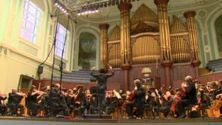 Ulster Orchestra rehearsing in the Ulster Hall