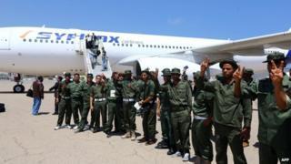 Libyan soldiers at Maitiga air base