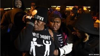 Protester in Ferguson Missouri, 24 November 2014