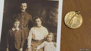 John French and family with WW1 medal