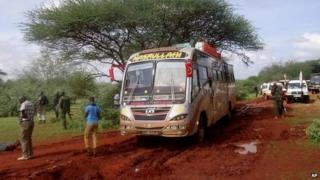 Kenyan security forces at the scene of the bus attack near the town of Mandera in northern Kenya - 22 November 2014