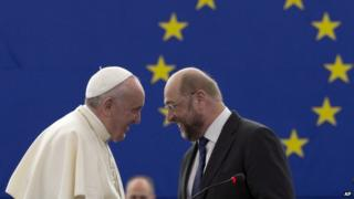 Pope Francis talks with President of the European Parliament, Martin Schulz, in Strasbourg, France, on 25 November 2014