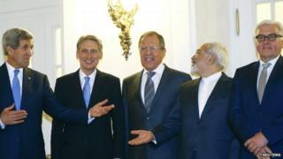 John Kerry, Philip Hammond and Iranian representatives