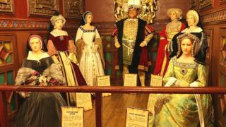 Waxworks of Henry VIII and his wives from Yesterday's World, Great Yarmouth