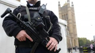 An armed Metropolitan police officer outside the Houses of Parliament