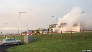 The children were safely evacuated after the bus caught fire
