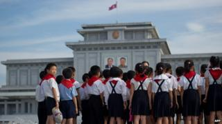 North Korean school children at the Kumsusan Palace of the Sun mausoleum in Pyongyang