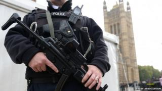 A police officer on duty against a backdrop of the Palace of Westminster