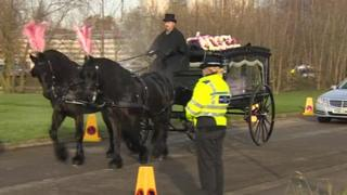 Hundreds of mourners attended the service for Megan and Jordanna