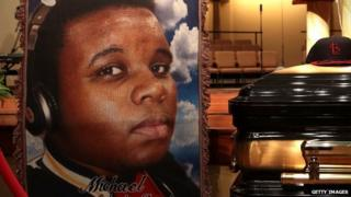 A picture of Michael Brown displayed during his memorial service.