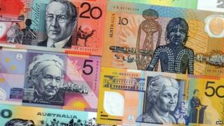 Montage of Australian banknotes