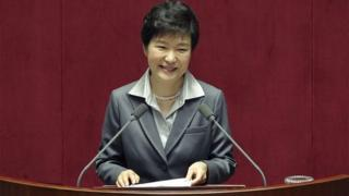 South Korean President Park Geun-Hye speaks at the National Assembly on October 29, 2014 in Seoul, South Korea.