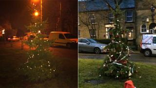 Mottram in Longdendale Christmas tree before and after its makeover