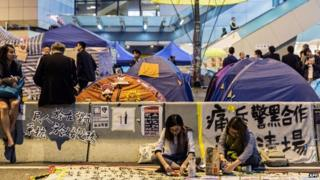 Protesters camped in a street near Hong Kong's Legislative Council