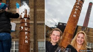 Gingerbread sculptor Daisy Brydon with beer expert Melissa Cole