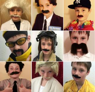 William Heath dressed as moustachioed celebrities (clockwise from top left): Albert Einstein, Ron Burgundy, Magnum PI, Merv Hughes, Freddie Mercury, Keith Lemon, Borat, Ali G and Biggles