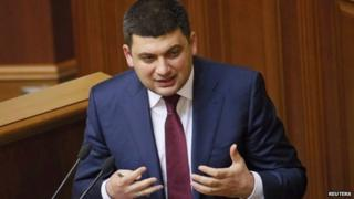 Speaker Volodymyr Hroysman during a session of the parliament in Kiev