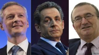 A combination of three pictures shows portraits of UMP political party candidates Bruno Le Maire (L), Nicolas Sarkozy (C) and Herve Mariton (R) who campaign for the leadership of their party in Paris