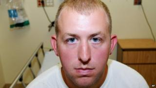 Darren Wilson undergoing a medical examination after the shooting (undated)