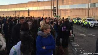 Evacuated passengers