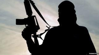 Silhouette of a man holding a gun