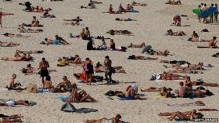 File photo: Members of the public enjoy the warm weather down at Bondi Beach in Sydney, Australia, 31 October 2014