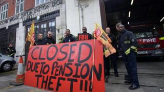 Firefighters on strike in central London in May