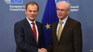 New European Council President Donald Tusk (left) and predecessor Herman Van Rompuy, 1 Dec 14