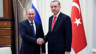 Russian President Vladimir Putin shakes hands with Turkish counterpart Recep Tayyip Erdogan in Ankara. 1 Dec 2014