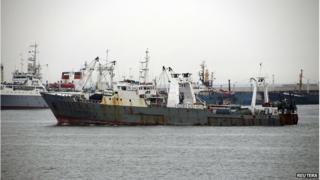 Fishing vessel Oryong 501 operated by Sajo Industries, which sank in the Bering Sea on Monday, is seen in this undated picture provided by Sajo Industries and released by Yonhap on 1 December 2014.