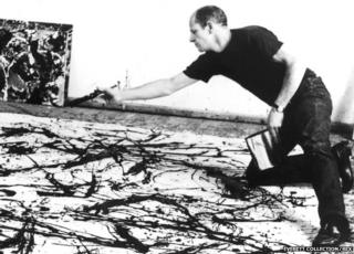 Jackson Pollock painting in 1945