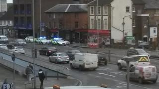 The scene of the stabbing in central Luton