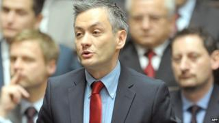 Robert Biedron speaks in the Polish Sejm assembly