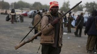 Vigilante fighter in Nigeria
