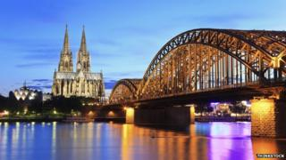 Hohenzollern Bridge, Cologne Cathedral and the River Rhine
