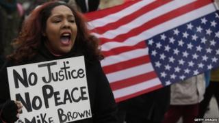 Protester in Ferguson Missori
