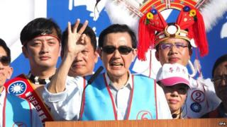 Taiwanese President Ma Ying-jeou (C) speaks at a campaign rally ahead of local elections in Taipei, Taiwan, on 22 November 2014.
