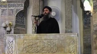 Baghdadi in Mosul, according to a video recording posted on the Internet on July 5, 2014