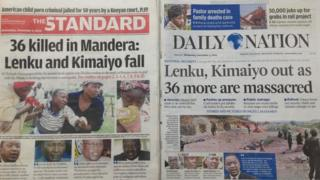 Kenyan newspaper front pages