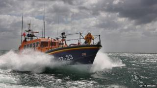 RNLI lifeboat at see near Poole, Dorset