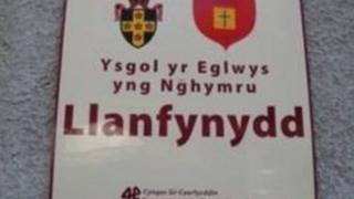 Llanfynydd VA Primary School sign