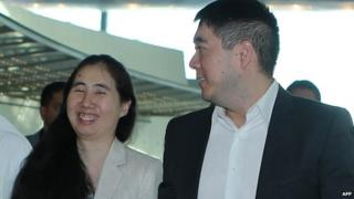Grace and Matthew Huang at Doha airport