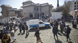 Aftermath of the car bomb attack on the Iranian ambassador's residence in Sanaa