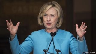 Hillary Clinton speaks at Georgetown University.