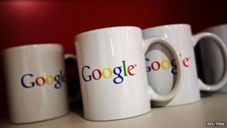 Google logo on mugs